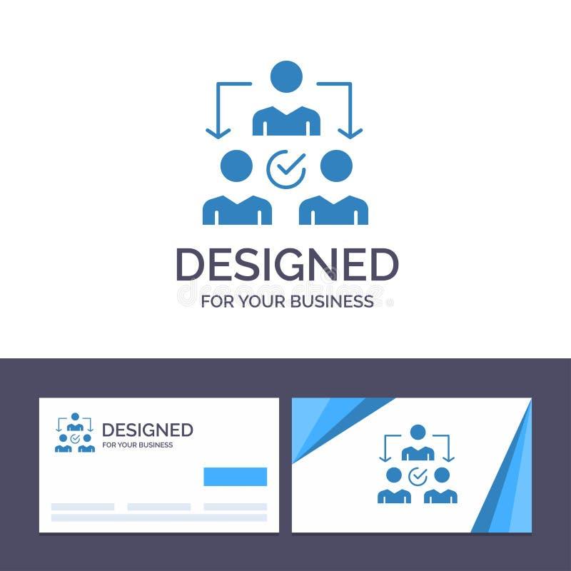 Uppgift för idérik mall för affärskort och logo, delegat som delegerar, fördelningsvektorillustration vektor illustrationer