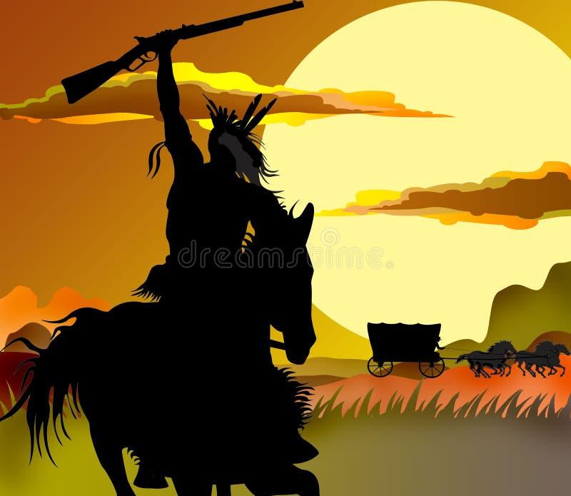 uppgift indier skåpbil västra krigare vektor illustrationer