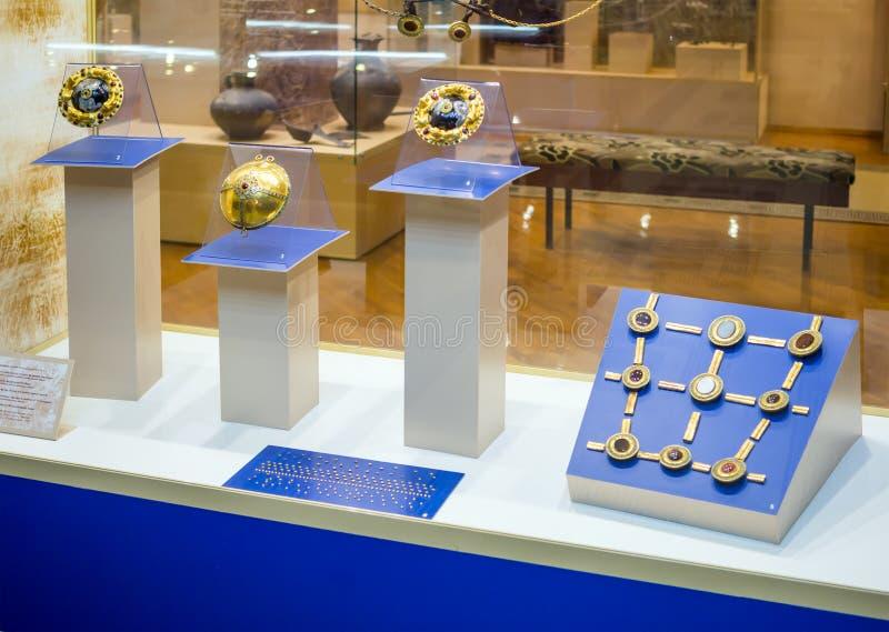 Uppgifter om hästhyrning, utställning `Scytianernas guld` i Azorernas historiska och arkeologiska historia royaltyfri foto