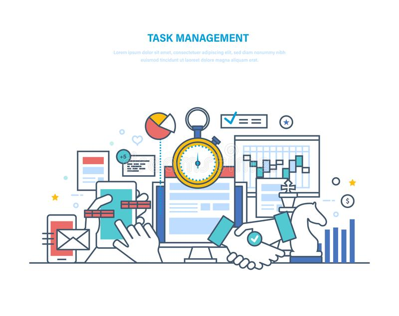 Uppgiftsledning, produktivitet, planläggning, koordination Tid ledning, affärsanalys, forskning stock illustrationer