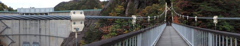 Upphängningbro på den Setoai-kyo kanjonen in arkivfoton