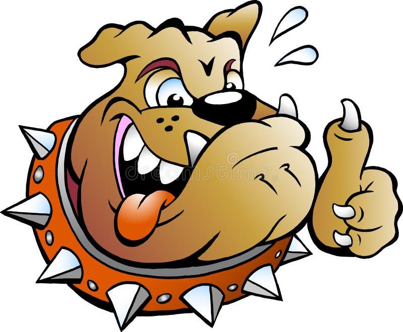 Upphetsad tjurhund som ger upp tummen royaltyfri illustrationer