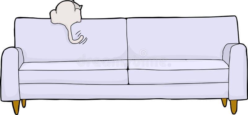 Upphetsad vit katt på soffan royaltyfri illustrationer