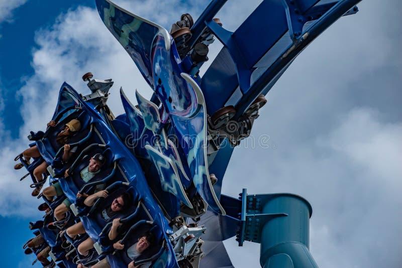 Upphetsade framsidor av folk som har den roliga MantaRay rollercoasteren på Seaworld 7 arkivbild
