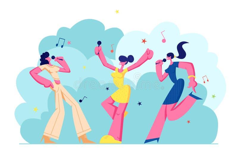 Upphetsat ung flickaföretag med mikrofoner som utför på karaokepartiet Lyckliga kvinnliga tecken som sjunger glatt, musik vektor illustrationer