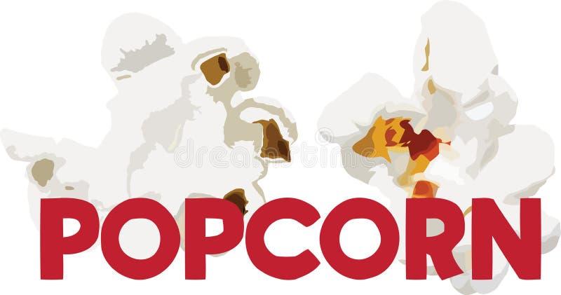 Upphettat vitt popcorn för havrekärnor med bokstäver vektor illustrationer
