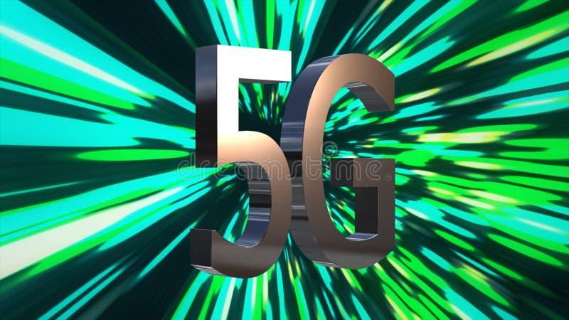 uppkopplingsmöjlighetdatorhall för 5G LTE, server, internet, hastighet, animering för bakgrund 3D för Digital teknologi royaltyfri illustrationer