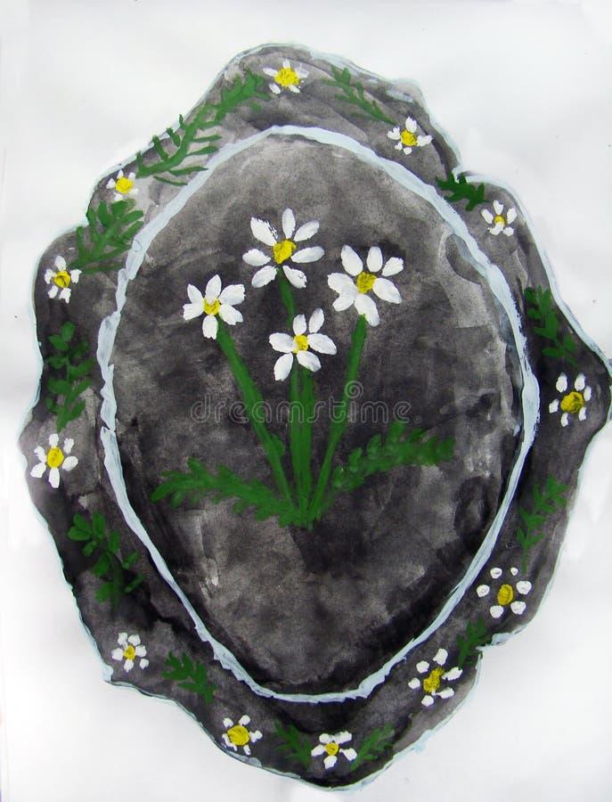 Uppl?ggningsfat med blommor som m?las av barnet royaltyfria foton