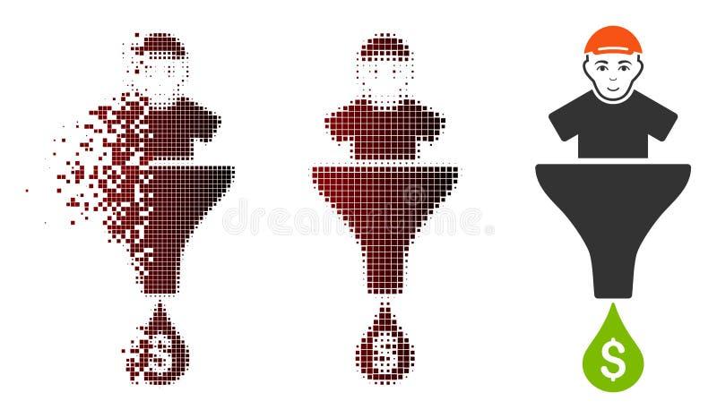Upplösa för klientförsäljningar för PIXEL den rastrerade symbolen för tratt vektor illustrationer