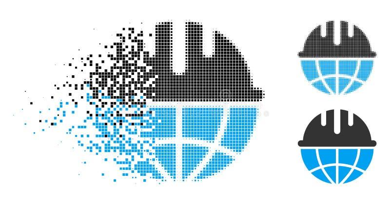 Upplösa för säkerhetshjälm för PIXEL den rastrerade globala symbolen royaltyfri illustrationer