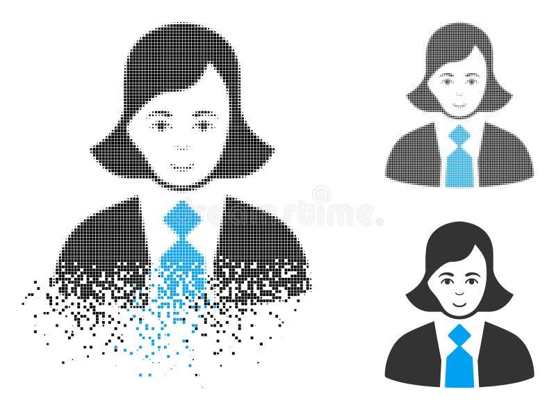 Upplösa symbolen för Pixelated den rastrerade affärskvinna med framsidan vektor illustrationer
