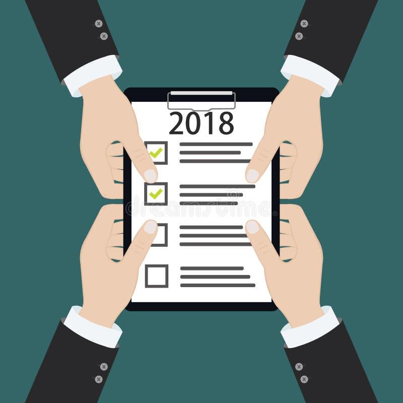 upplösning för nytt år 2018 och lista för målaffärskontroll som planerar tillsammans royaltyfri illustrationer