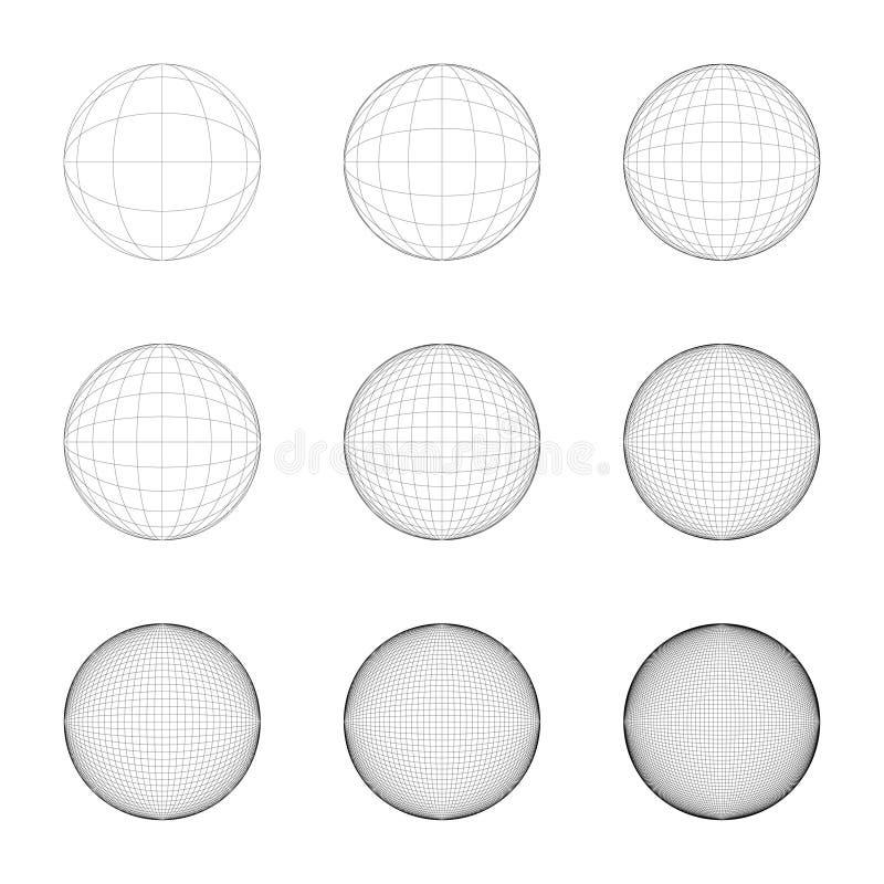 Upplösning för stödrasterrutnät, exakt symmetri, redigerbar linje royaltyfri illustrationer