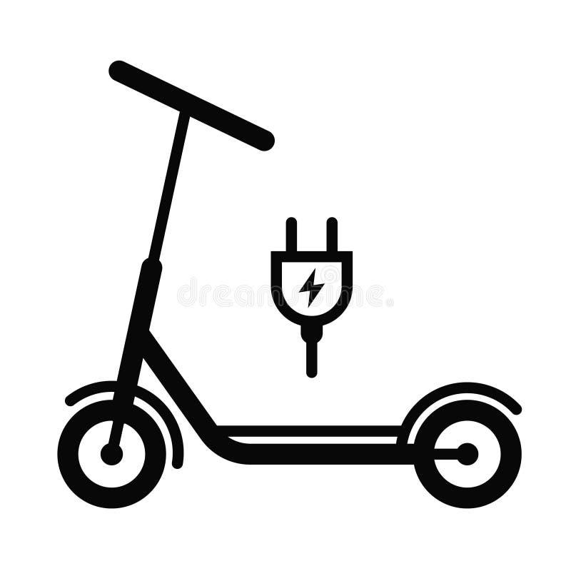 Uppladdning av batteriet p? en sparkcykel symbol royaltyfri illustrationer