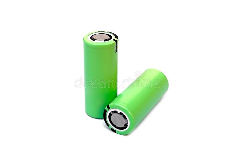 Uppladdningsbart batteri för litium i grön färg arkivbilder