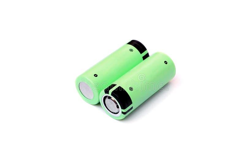 Uppladdningsbart batteri för litium i grön färg royaltyfri bild