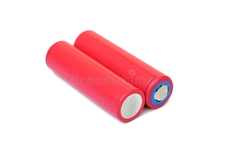 Uppladdningsbart batteri för litium i röd färg arkivbild