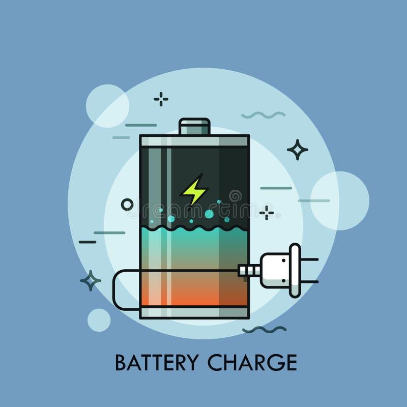 Uppladdningsbart batteri med den flytandeinsidan och proppen Begrepp av laddningsnivåkontrollen, uppladdaren eller recharger, pow vektor illustrationer