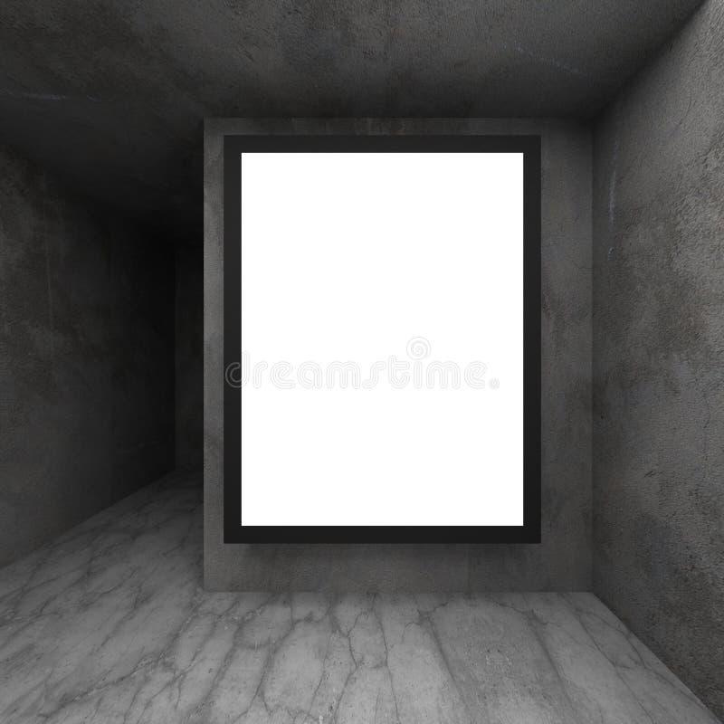 Download Upplyst Affischtavla För Bred Skärm På Den Mörka Betongväggen Stock Illustrationer - Illustration av grunge, marknadsföring: 78728800