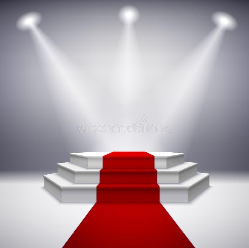 Upplyst etapppodium med röd matta stock illustrationer