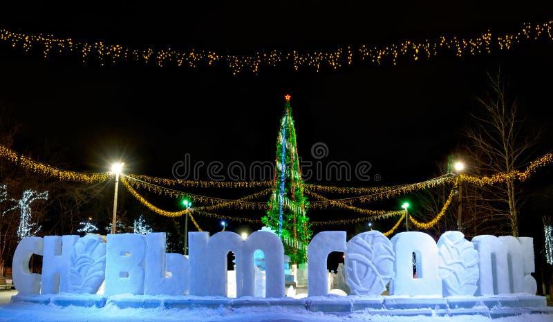 Upplyst julträd och hälsning för lyckligt nytt år i ryss royaltyfria bilder