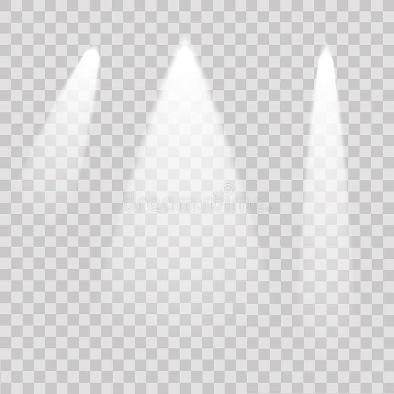 Upplyst ljus för podium på genomskinlig bakgrund vektor stock illustrationer
