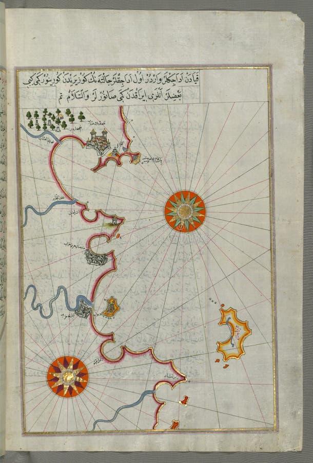 Upplyst manuskript, översikt av algeriern och tunisisk kust från Annaba ( UnnÄ för ¿ för al-Ê för BilÄ  D  b) till Tabarka ( Ta royaltyfria bilder