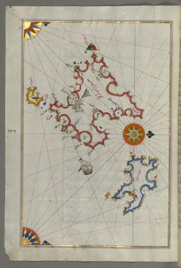 """Upplyst manuskript, översikt av öarna av Mojorca ( MiyÄ rqÅ """") och Minorca ( MinÄ rqÅ """") från boken på Navigati arkivbild"""