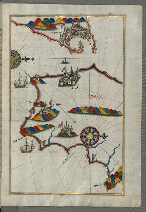 """Upplyst manuskript, översikt av den sydliga delen av den Calabrian halvön och svårigheter av Messina ( MesÄ """"ne) från Bo royaltyfria foton"""