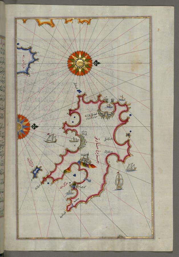 """Upplyst manuskript, översikt av ön av Minorca( MinÄ rqÅ """") från boken på navigering Walters Art Museum Ms W 658 f arkivbild"""
