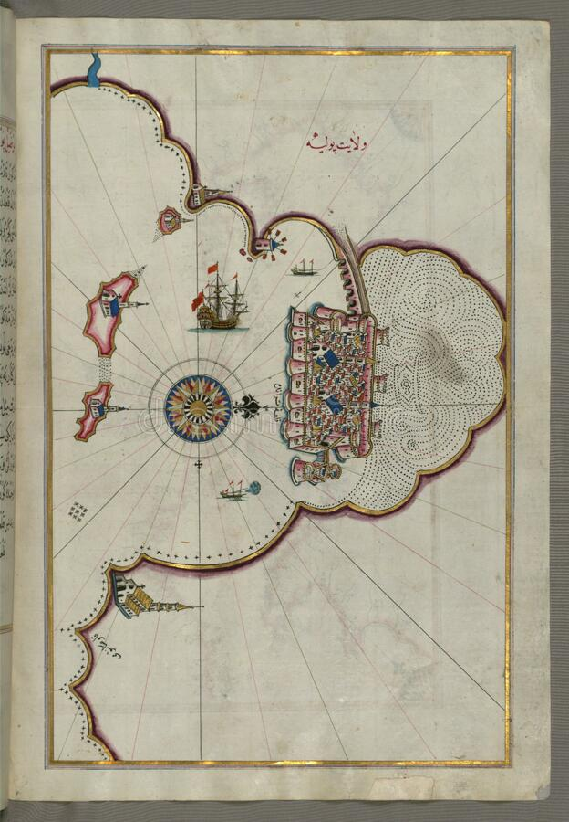 """Upplyst manuskript, översikt av staden av Taranto ( TarÄ  nde) i landskapet av Puglia ( PÅ """"lye) ( Västra arkivbild"""