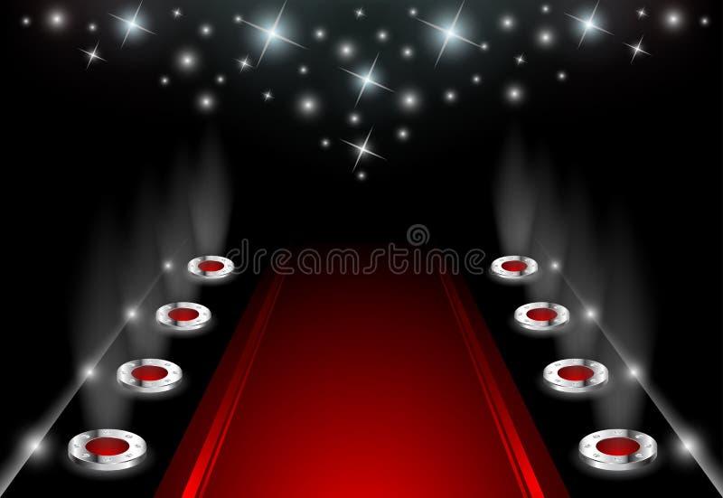 Upplyst röd matta royaltyfri illustrationer