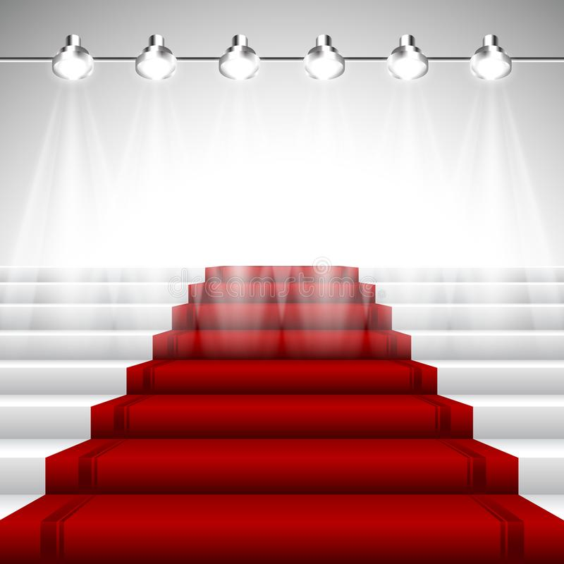Upplyst röd matta under strålkastare royaltyfri illustrationer