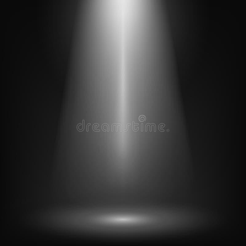 upplyst strålkastare för plats Bakgrund för effekt för biostrålkastareglöd Showstrålkastarebakgrund Ljus stråle på svart etapp vektor illustrationer