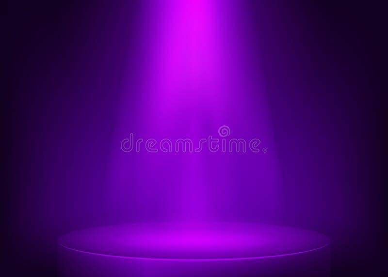 Upplyst strålkastare för purpurfärgad plats Showstrålkastarebakgrund Ljus stråle på den violetta etappen också vektor för coreldr royaltyfri illustrationer