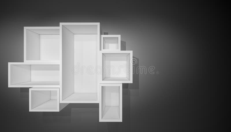 Upplyst vit hylla för presentationer fotografering för bildbyråer