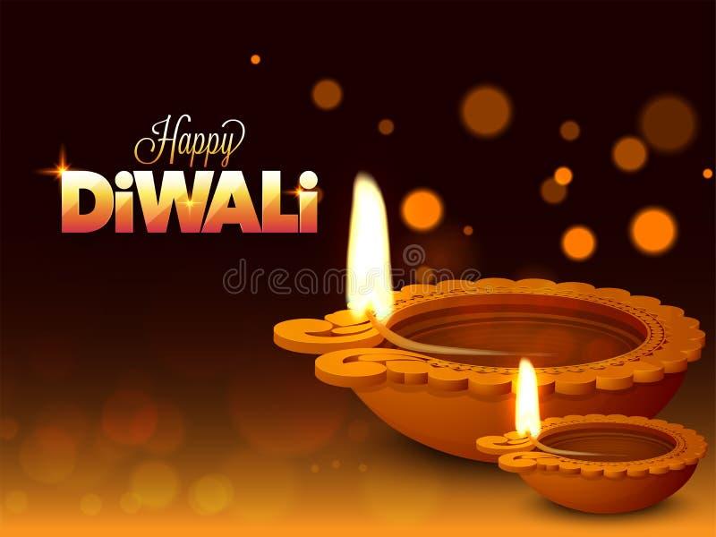 Upplysta olje- lampor Diya på skinande bokehbakgrund för lyckligt royaltyfri illustrationer
