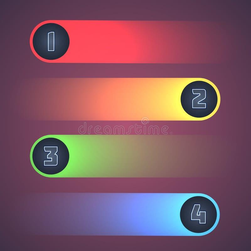 Upplysta skinande Infographic beståndsdelar. vektor illustrationer