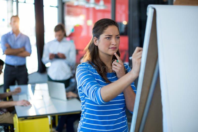 Uppmärksam affärskvinnahandstil på flipdiagram royaltyfria foton