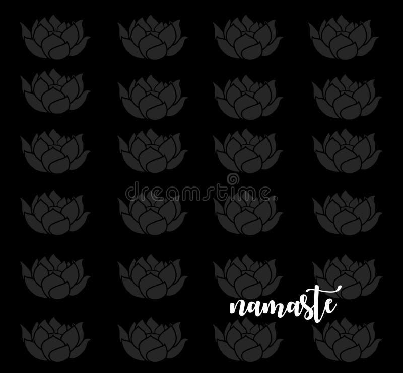 Uppmärksam ordstäv: Namaste med Lotus Flowers royaltyfria foton