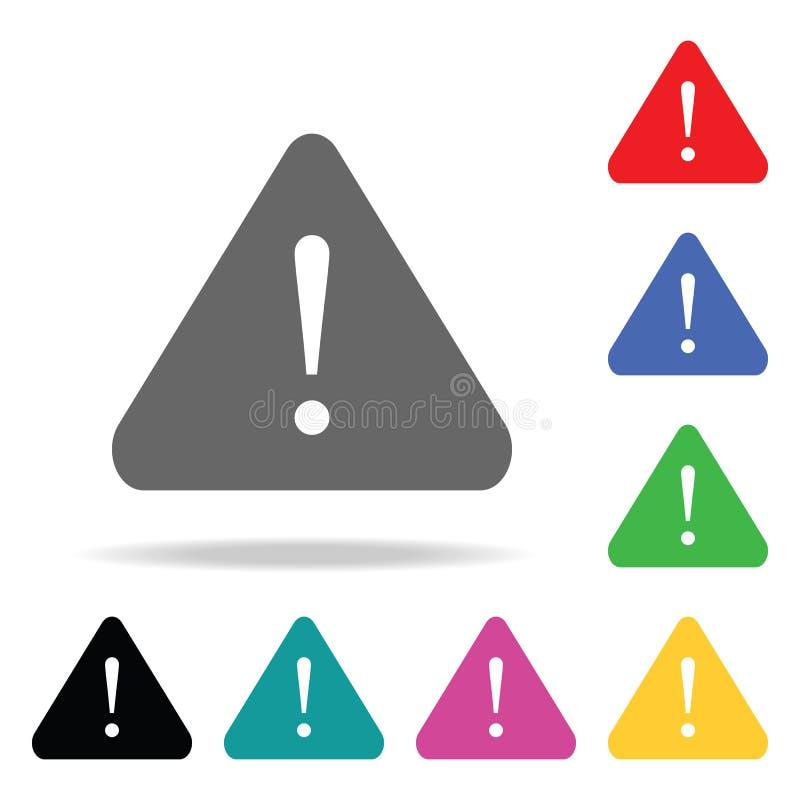 uppmärksamhettecken med utropsteckensymbolen Beståndsdelar i mång- kulöra symboler för mobila begrepps- och rengöringsdukapps Sym stock illustrationer