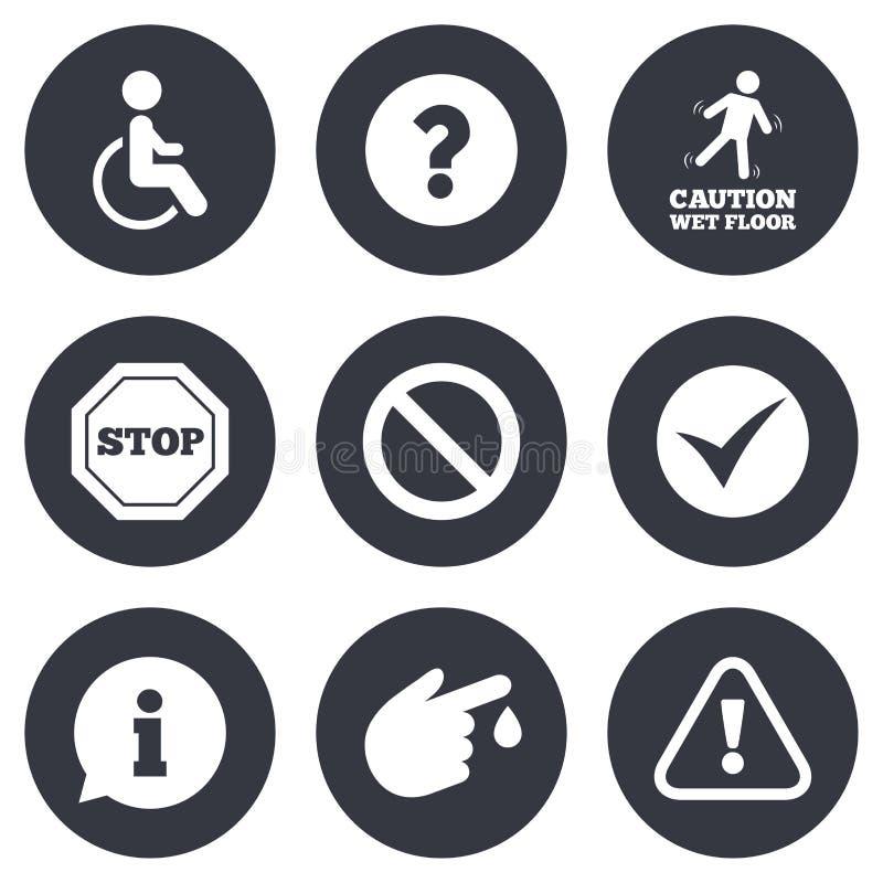 Uppmärksamhetvarningssymboler Informationstecken stock illustrationer