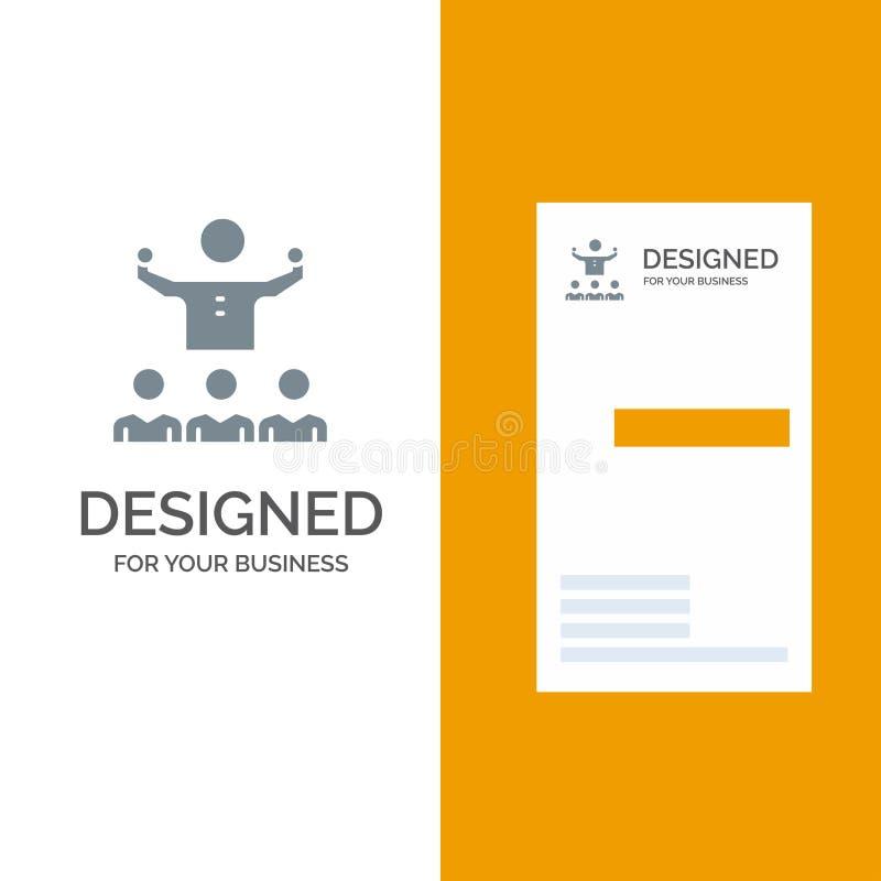 Uppmuntra, tillväxt, mentorn, mentorshipen, Team Grey Logo Design och mallen för affärskort stock illustrationer