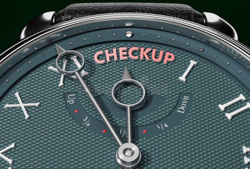 Uppnå Checkup, komma nära Checkup eller göra den närmare eller nå tidigare - en klocka som symboliserar kort tid mellan nu och Ch royaltyfri illustrationer
