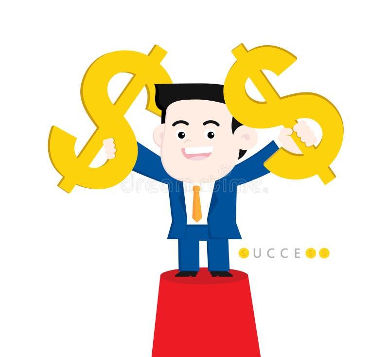 Uppnå ett mål: Framställning av mycket pengar royaltyfri illustrationer