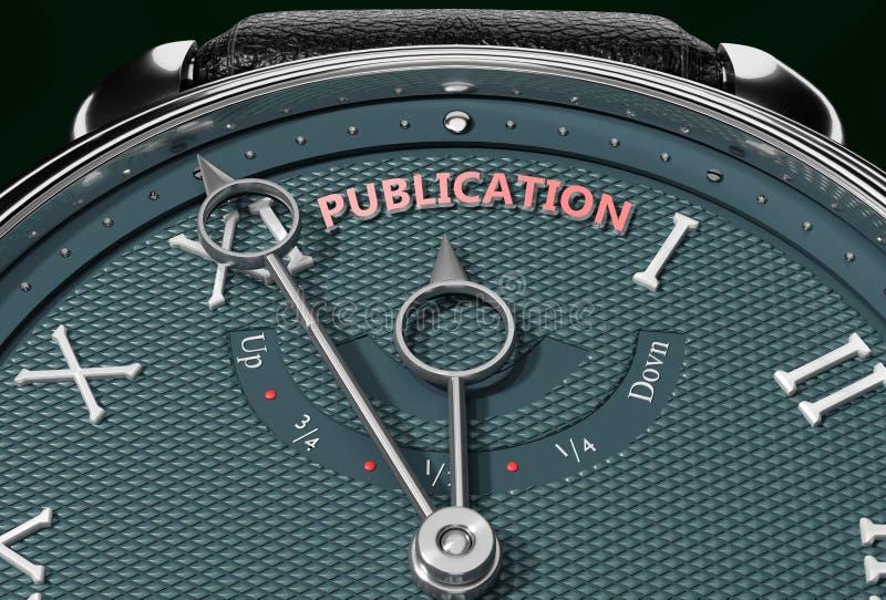 Uppnå publicering, komma nära publikation eller göra den närmare eller nå tidigare - en klocka som symboliserar kort tid fram til stock illustrationer