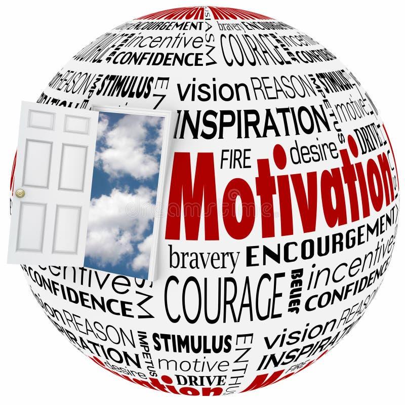 Uppnår tillfället för den öppna dörren för motivationordjordklotet inspiration vektor illustrationer