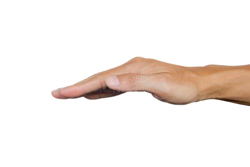 Uppochnervänd höger manhand som isoleras på vit bakgrund Snabb bana arkivbild