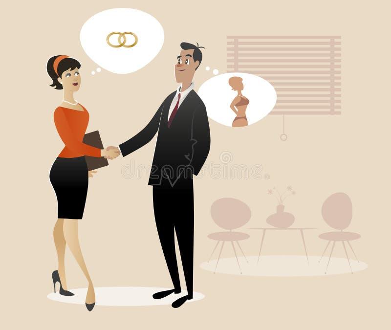 uppröra för affärsmanaffärskvinnahänder royaltyfri illustrationer