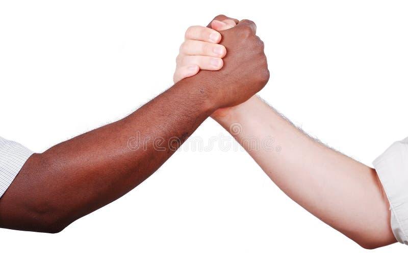 Uppröra för två händer som är svartvitt arkivbilder